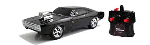 Jada Toys Fast & Furious RC Auto Dom\'s 1970 Dodge Charger Street, Ferngesteuertes Auto mit 2-Kanal Funksteuerung, Turbofunktion, Maßstab 1:24, ab 6 Jahren, schwarz