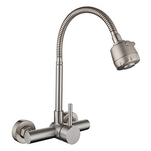 HomeLava Grifo de cocina Grifo de pared giratorio de acero inoxidable de 360 ° Grifo de agua fría y caliente Grifo para lavavajillas, distancia del orificio 13.5-16.5cm