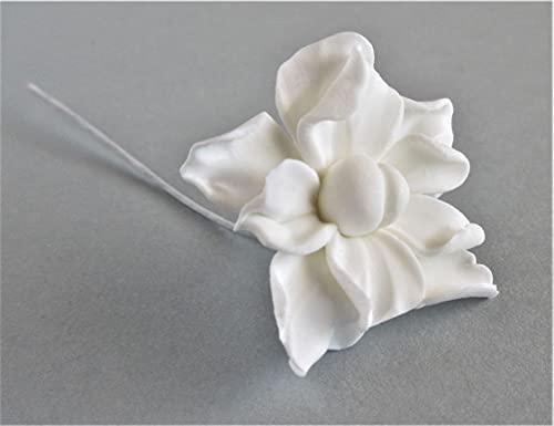 Flor de porcelana fría para tocados de novia, fiestas y arreglos. Flor...