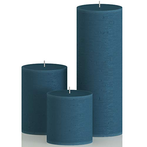 CANDWAX Assorted Candles Pillar - Set of 3 inch Pillar Candles Includes 3', 4' and 8' Unscented Candles - Long Burning Candles Ideal as Wedding Candles and Candles for Home- Dark Blue Candles
