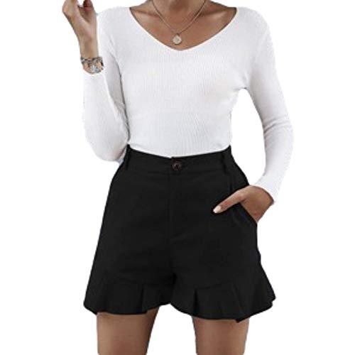 Pantalones Cortos Casuales para Mujer Color sólido Corte Entallado Botón de Oreja de Madera y Tapeta con Cremallera Pantalones Cortos Simples y Salvajes con Bolsillos Laterales Large