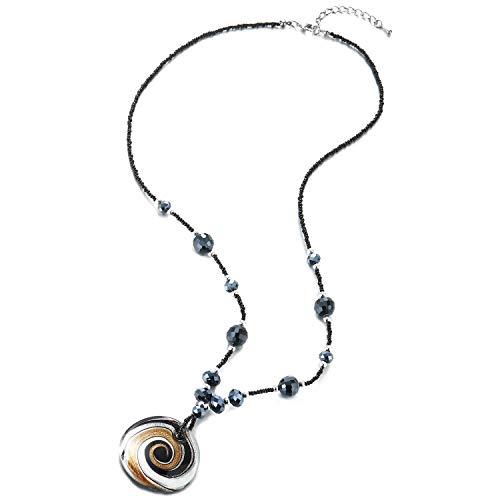 COOLSTEELANDBEYOND Lange Schwarz Dunkelblau Kristall Perlen Kette Halskette mit Farbige Wirbel Muster Glasur Glas Kreis Charme Anhänger