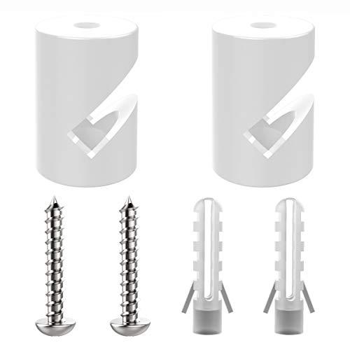 ZOHAR 2 Stück Wand- und Deckenpins Weiß für Textilkabel Deckenbefestigung Affenschaukel Aufputz-Kabelhalter für Lampe DIY mit Schrauben und Dübeln