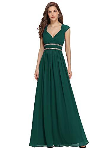 Ever-Pretty Abito da Sera Donna Linea ad A Chiffon Scollo a V Senza Maniche Stile Impero Lungo Verde Scuro 42