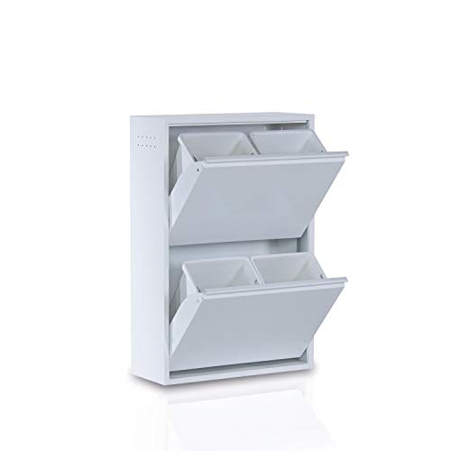 Betten-ABC Refina Mehrzweckschrank, Mülltrenner, platzsparend, aus pflegeleichtem Metall Farbe Weiß, Größe 4 x 15 L