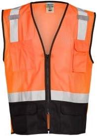 ML Kishigo 1529 Black Bottom 蔵 Safety - La Vest Large 人気ブランド Orange Extra