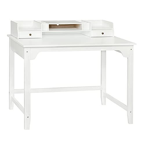 DICTAC Schreibtisch mit 2 Schubladen, Computertisch Holz Arbeitstisch Schminktisch, Bürotisch, Schreibtisch Organisation (Modern Weiß)