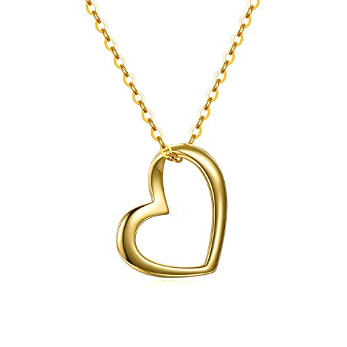 14k Gold Heart Necklace for Women