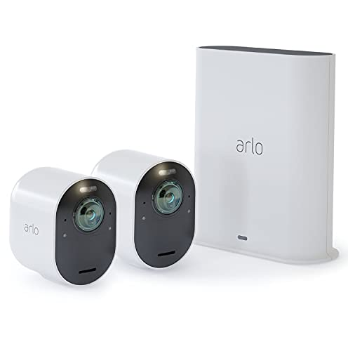 Arlo Ultra Smart Home Security CCTV Camera System   Wireless Wi-Fi, Alarm, Rechargeable, Colour Night Vision, Indoor or Outdoor, 4K UHD, 2-Way Audio, Spotlight, 180° View, 2 Camera Kit, VMS5240