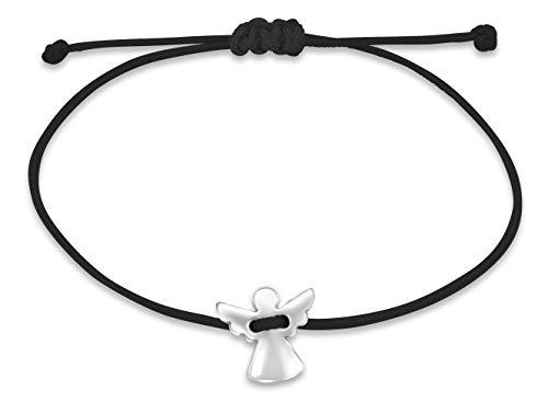 Nuoli® Schutzengel Armband Damen Silber (verstellbar bis 20cm) Engel Armbändchen für Frauen & Mädchen, aus schwarzem Stoff mit Metall Anhänger