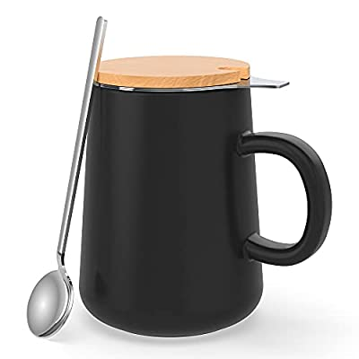 J-FAMILY Porcelain Tea Mug with Infuser and Lid,Drip Tray,Tea Spoon,All In One Tea Straining Cup for Loose Leaf Tea,Tea Mug Gift Set for Tea Lover,15oz,Matte Black