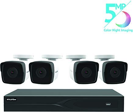 LaView 8 Channel 5MP Business and Home Security Cameras System 1TB HDD Surveillance DVR with 4 5MP Color Night Vision Bullet Cameras