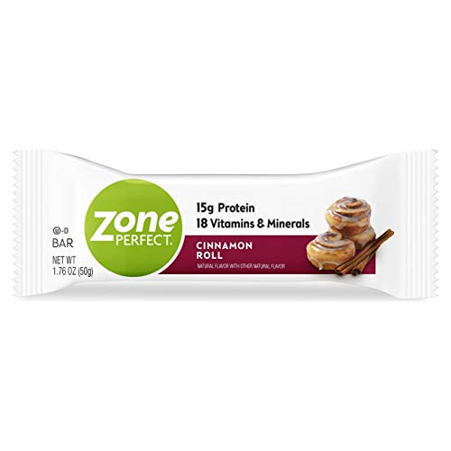 Zone Perfect Protein Bars, Cinnamon Roll, 15g of Protein, Nutrition Bars with Vitamins & Minerals, Great Taste Guaranteed, 20 Bars