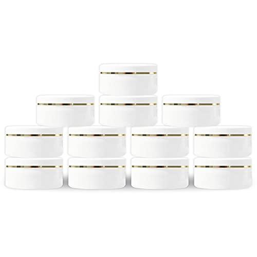 MYOC Tarro de plástico blanco con tapa de cúpula de 50 g (1.7 onzas) rellenable para maquillaje cosméticos tarros vacíos crema para la cara, sombra de ojos, bálsamo labial, loción (paquete de 12)