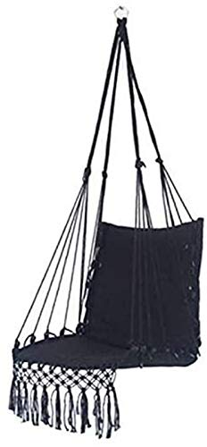 XIAOTIAN Silla colgante de columpio, tejida por cuerda de algodón con flecos románticos, hamaca macramé, para interior/exterior, patio, terraza, jardín, bar (color: negro)