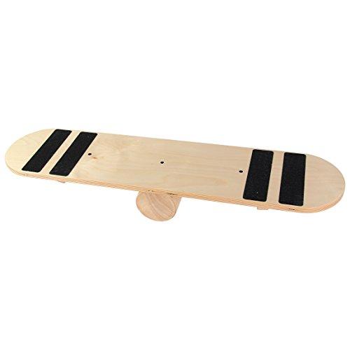 POWRX Balance Skate-Board Surf-Board aus Holz I Balance Trainer Balancierbrett I Ideal für Kraft- und Gleichgewichtsübungen (Mit Grip)