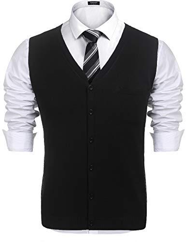 COOFANDY Herren West Strickweste Pullunder Slim fit V-Ausschnitt Knopfleiste Einfarbig Wollweste für Männer