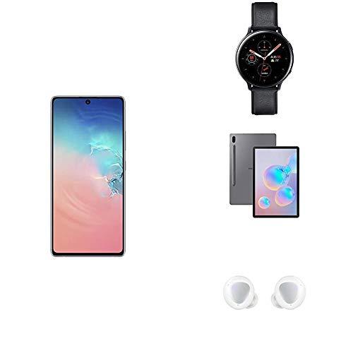 Samsung Galaxy S10 Lite Hybrid-SIM 128 GB - Prism White + Watch Active2 4G LTE Stainless Steel 44 mm - Black, Galaxy Tab S6 Wi-Fi 256 GB 10.5-Inch Tablet - Mountain Grey + Galaxy Buds+ White