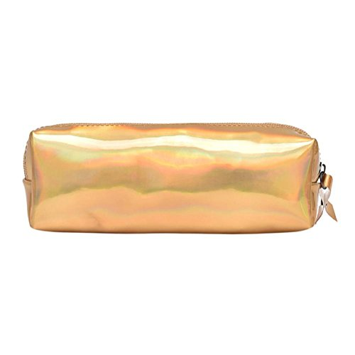 Matefield glanzend draagbaar etui, holografisch, bruikbaar als make-uptas, portemonnee geel