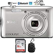 Nikon Coolpix A300 20.1MP 8x Optical Zoom NIKKOR WiFi Silver Digital Camera – (Renewed) with 16GB Bundle