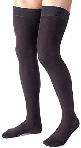 Absolute Support - Size Large - Mens Thigh High Compression Stockings 20-30 mmHg with Grip Top Fim Suppport - Over The Knee Compression Hose for Circulation, Black - Made in USA