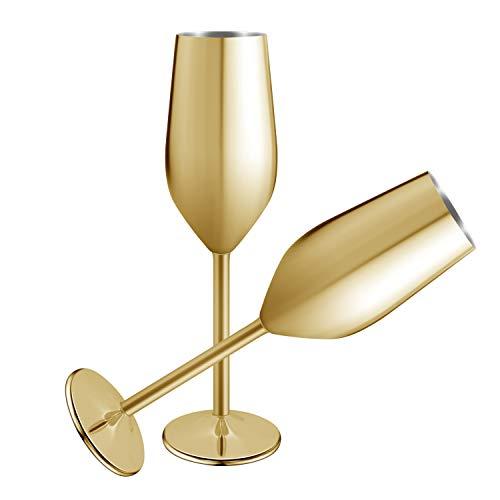Juego de 2 copas de champán de acero inoxidable, 200 ml, irrompibles,...