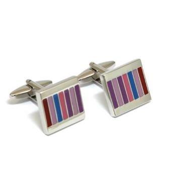 Jakob Strauss FJ242 Boutons de Manchettes Argentés pour Hommes Ornés de Stries Multicolores