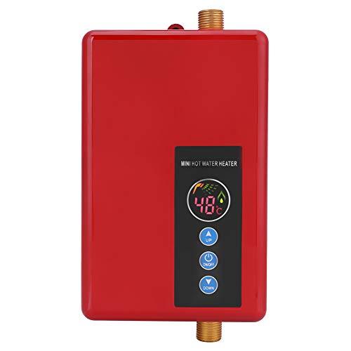 Scaldabagno Elettrico Istantaneo Tankless Rubinetto Riscaldamento Istantaneo Scaldabagno Digitale LCD Automatico Scalda Acqua Boiler Scaldino Termostato Regolabile Portatile Programmable Timer(rosso)