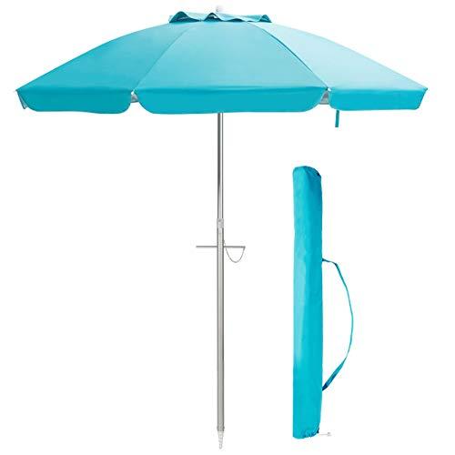 COSTWAY 200cm Sonnenschirm Strandschirm Marktschirm Gartenschirm neigbar Alu Terrassenschirm mit Tragetasche für Garten, Strand, Outdoor (Blau)