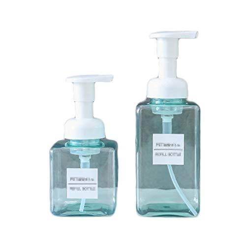 FXJ (2 Paquetes) Manual de jabón Dispensador Loción Botella de Ducha Caja de Gel de plástico de Recipiente para baño y Cocina (Color : Light Blue, tamaño : 15.2oz+8.5oz)