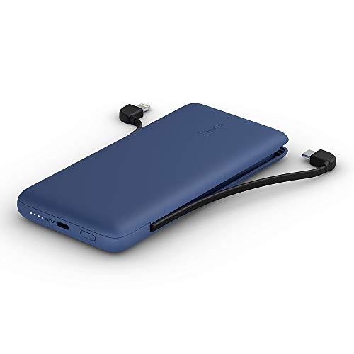 Belkin Boostcharge Plus - Cargador Portátil Batería Externa 10 K (10000 mAh con Cables Integrados Lightning MFI y USB-C y un Puerto USB-C Adicional), Azul