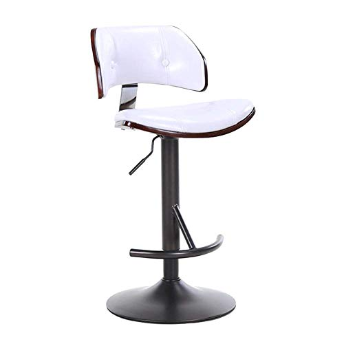 Bar Stool Rotary Lift Chair European-style Bar Backrest With Wooden Table And Chair Lift Chair Swivel Bar Chair Simple Home Back High Stool Cash Register Chair 3 Colors (Color : White)