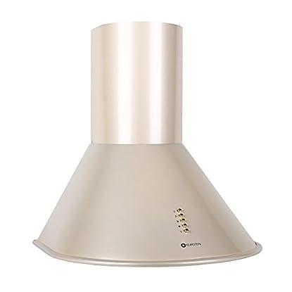 Foto di Klarstein Lumio Retro Cappa Aspirante da cucina in acciaio inox (60 cm, potenza di aspirazione pari a 430 m³/h, 3 livelli di potenza, illuminazione con due faretti alogeni) - color champagne