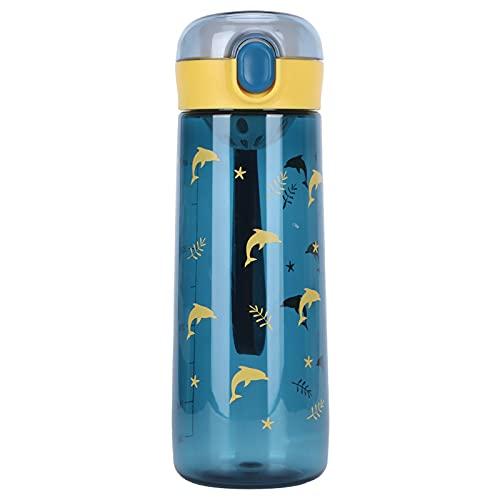 Botella de agua para deportes, taza de agua plástica portátil a prueba de fugas de la tapa de(SL7016A navy, 480ml)