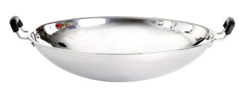 Paella World International Wok van roestvrij staal, zilver, Ø 35 cm