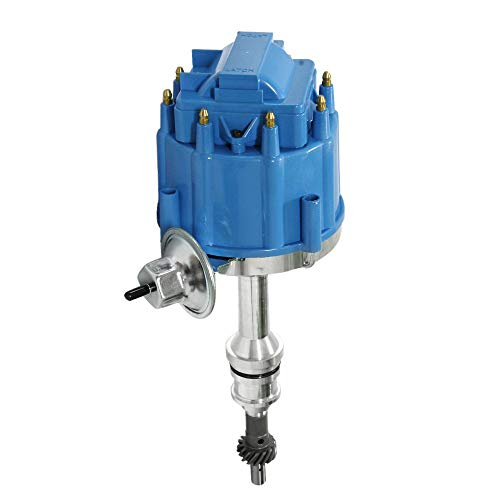 HEI Ignition Distributor for Small Block Ford 351W Windsor 5.8L 8 Cylinder New Distributor 65K Coil with Blue Cap