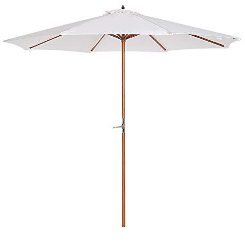 Outsunny® Sonnenschirm Holzschirm Gartenschirm Balkonschirm Kurbelschirm, Pappel, Creme, Φ2.7x2.5m (Modell1)