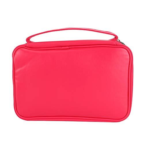 Qiraoxy Organizador de Collar de Pendientes de Bolsa de Almacenamiento de Joyería de Viaje Impermeable Portátil (Rosa Roja)