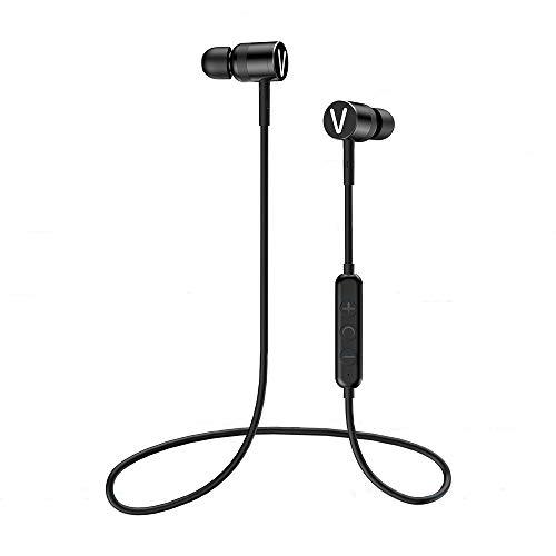 VKUSRA Auriculares Bluetooth 5.0 inálambrico Auriculares magnético Caso Deportivos con CVC Reducción de Ruido Impermeable IPX4, Duracion 9 Horas para Android y iPhone (Negro)