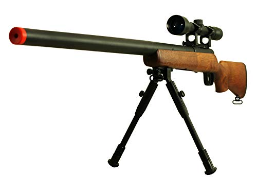 BBTac Airsoft Sniper Rifle VSR-10 Bolt Action Powerful Spring Airsoft Gun with Hunting Scope and Bipod (Wood)