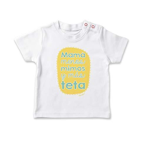 SUPERMOLON Camiseta bebé Mamá menos mimos y más teta Blanco 1-2 años