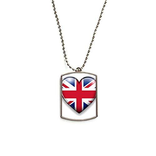 DIYthinker Union Jack Heart-Shaped Britain UK Flag Stainless Steel Chain Dog Tag Pendant Pet Necklace