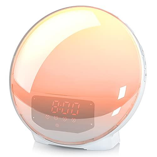 Wake Up Licht Lichtwecker,Sonnenaufgang Sonnenuntergang Simulation Vier Wecker mit Snooze Funktion , 7 Farben und 6 Natürlichen Klängen, FM Radio, Schlafmodus,USB-Aufladung für Kinder & Erwachsene