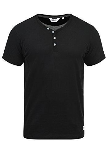 !Solid Dorian Herren T-Shirt Kurzarm Shirt Mit Grandad-Kragen, Größe:XL, Farbe:Black (9000)