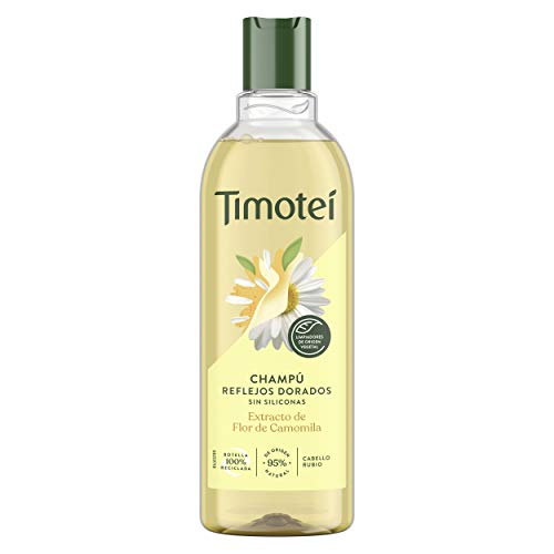 Timotei champú reflejos dorados para cabello rubio con extracto de flor de camomila con limpiadores de origen vegetal, 95% ingredientes de origen natural sin siliconas 400ml
