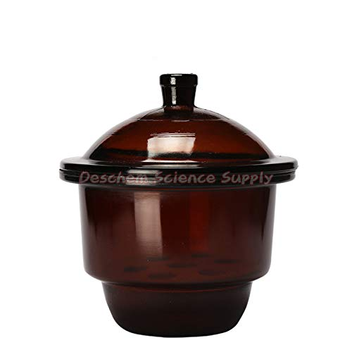 Deschem 150mm,Brown Glass Desiccator Jar,Amber Dessicator Dryer,Lab Glassware
