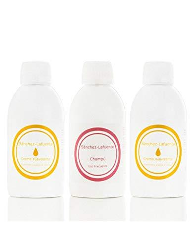 Natuurlijke verzorging voor dagelijks gebruik 250 ml + 2 sponsjes met wasverzachter à 250 ml per 250 ml elk een haarelastiek met ijs- en stijltang.