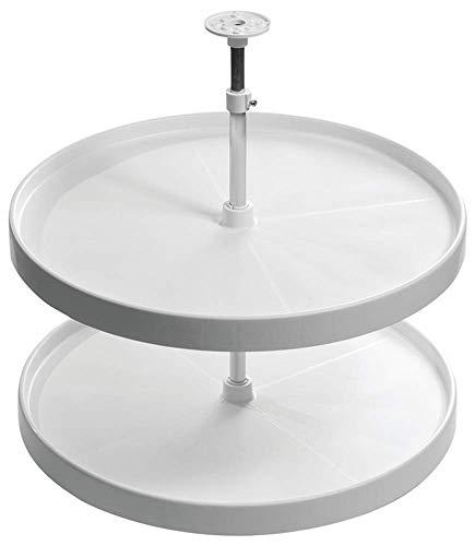Gedotec Vollkreis-Schwenkbeschlag Drehteller höhen-verstellbar mit Tablarboden für Eckschrank weiß | Höhe: 652-717 mm | MADE IN GERMANY | 1 Set - Küchenschrank Drehbeschlag-Set mit Schwenk-Böden