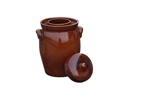 Hentschke Keramik Gärtopf, Rumtopf, Sauerkrauttopf Einlegetopf braun - 5 Liter incl. Deckel + Beschwerungsstein