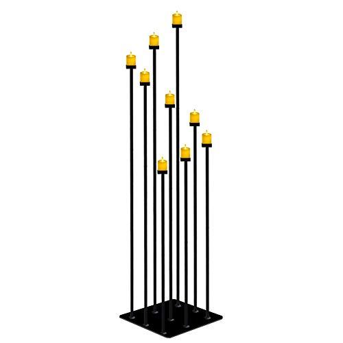 smtyle - Candelabro de suelo alto para decoración de boda con 9 velas de té con una base cuadrada grande y resistente de hierro negro